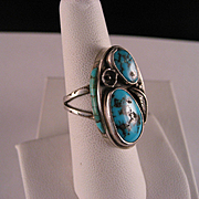 Vintage 1960's Sterling Silver Turquoise Navajo Ring