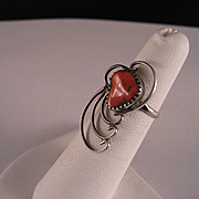 Vintage Red Coral and Sterling Silver Southwest Ring