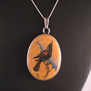 Sterling Silver Fossil Red Winged Blackbird Pendant