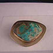 Vintage Sterling Vermeil Turquoise Brooch Pin