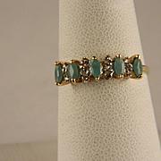 Vintage Emerald Diamond 10 K Yellow Gold Ring