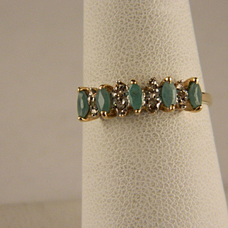 Vintage Emerald Diamond 10 K Yellow Gold Ring