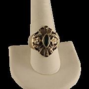 Vintage Jade Marcasite Sterling Silver Ring