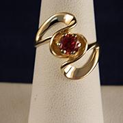 Vintage 6 MM Oregon Sunstone 14 K Yellow Gold Ring
