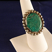 Vintage Navajo  Green Turquoise and Sterling Silver Ring