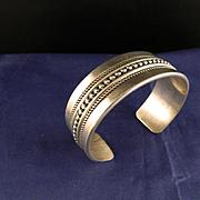 Vintage Navajo Signed Cuff Bracelet Sterling Silver
