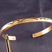 Vintage Navajo Sterling Silver Stamped Cuff Bracelet