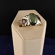 Vintage 1980s  14 K Tourmaline and Amethyst Designer Ring
