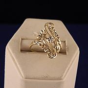 Vintage Filigree 10 Yellow Gold Ring