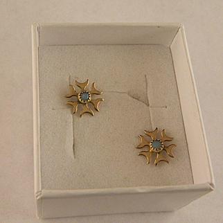 Opal Star Burst Gold Fill Earrings