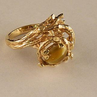 1970's 14 K Gold and Honey Tiger Eye Ring