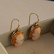14 K Gold Vintage Cameo Earrings