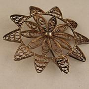 Vintage Mandala Sterling Silver Brooch