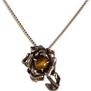 Vintage Sterling Silver Honeysuckle Rose Pendant and Chain