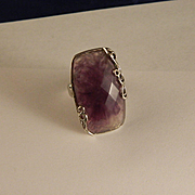 Vintage Unusual Amethyst and Silver Color Ring