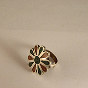 Vintage 1970 Sterling Silver Southwest Rosette Ring