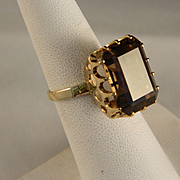 Vintage 14 K Gold and Smokey Quartz Ring