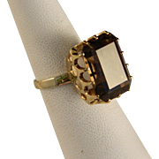 Vintage 14 K Gold and Smokey Quartz Ring