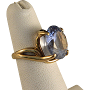 Vintage Blue Topaz and Gold Ring