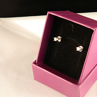 Vintage Diamond Stud Earrings 14 K White Gold .20 ct. tw.