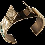 1960's Sterling Silver Southwest Native American  Zuni Cuff Watch Bracelet