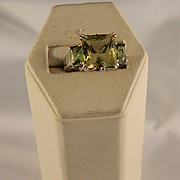 Vintage Emerald Cut Citrine and Peridot Ring