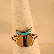 1960's Zuni Fetish Sterling Silver Ring