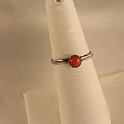Vintage Sterling Silver Coral Ring