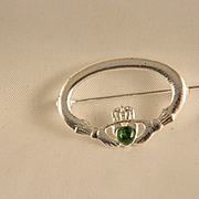 Vintage Sterling Silver Claddagh Pin