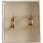 Vintage 14 K Gold and Diamond Hoop Earrings