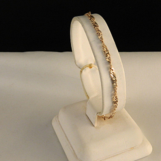 Vintage Sterling Silver Twist Chain Bracelet