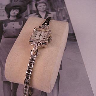Vintage Lady Hamilton 14 K White Gold Watch