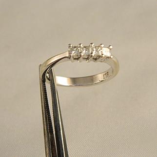 Vintage 14 K Gold  .33 ct. Diamond Princess Cut Diamond Ring