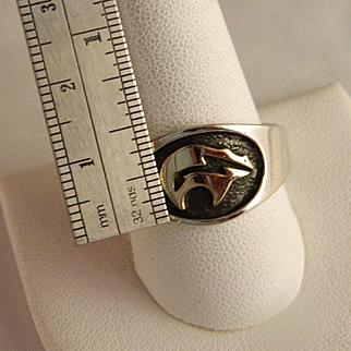 Vintage 14 K Gold / Sterling Silver Fetish Bear Ring