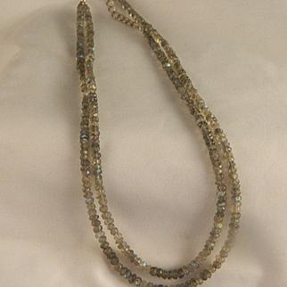 Vintage Labradorite Sterling Double Strand Necklace