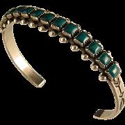 Vintage Fred Harvey Era Sterling Silver Turquoise Bracelet