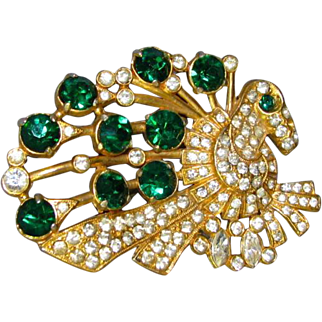 Large Vintage Pot Metal Green and Clear Rhinestone Brooch