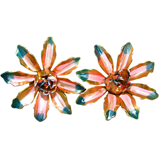 Vintage Pink and Green Flower Metal Earrings