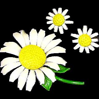 Enameled Metal Mod Daisy Flower Brooch and Earring Set