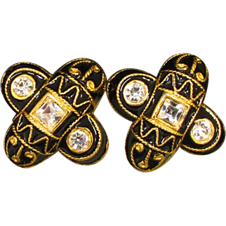 Signed B David Black Enamel and Rhinestone Earrings