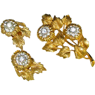 Vintage Rhinestone Flower Brooch with Matching Earrings