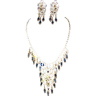 D&E Juliana Crystal Ice Cascading Necklace and Earring Set