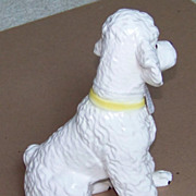 "Japanese Poodle Puppy figurine - ceramic - Vintage - 7-3/4"" - white"