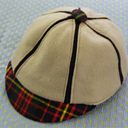 Child's Hat or Cap with Brim - Vintage 1930's - wool-felt-leather-chenille