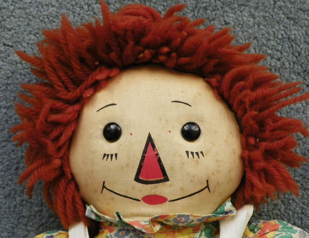 sale raggedy ann doll georgene wool hair black outlined