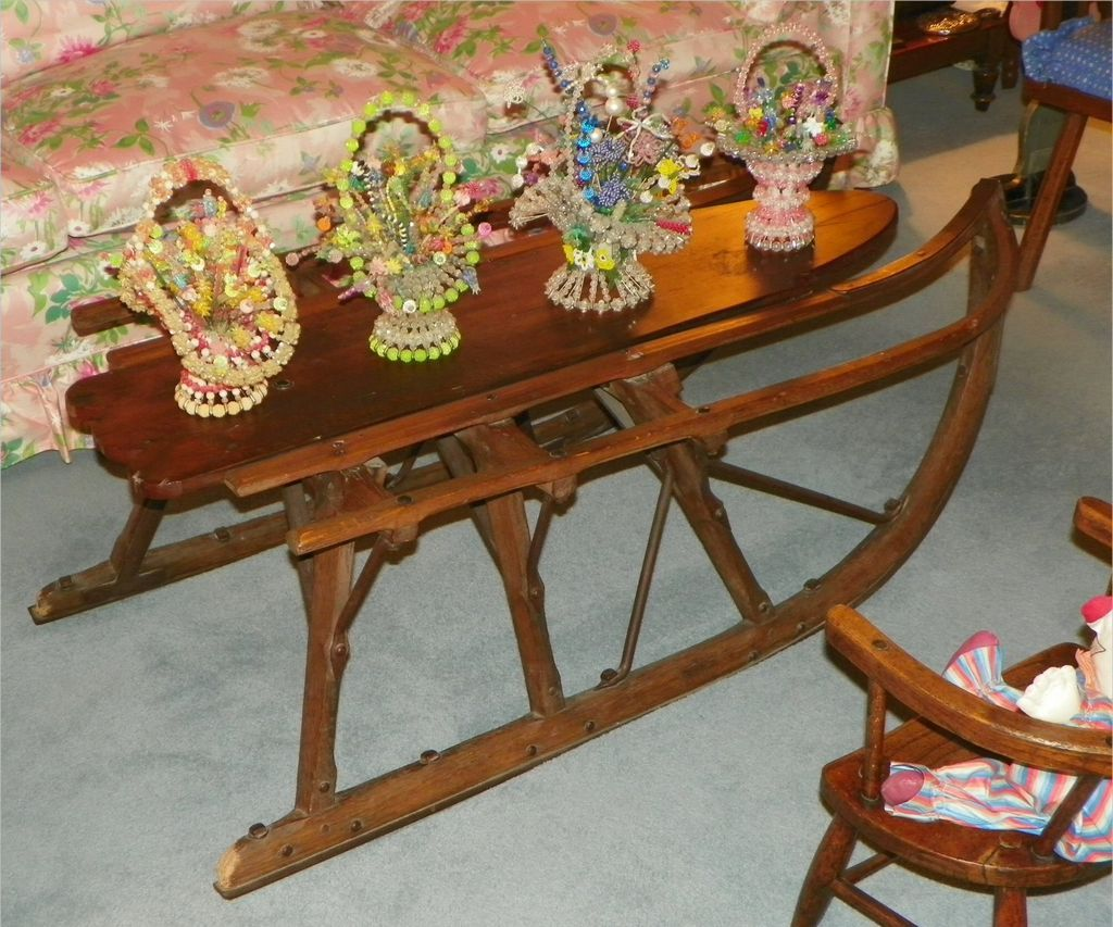 Sale coffee table vintage1800 39 s hand made sled antique iowa from halsll on ruby lane Antique sleigh coffee table