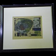 "Lora Fosberg original print, ;WALLED CITY"", framed, 1993."