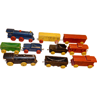 """TOY Trains - wood - 1950's - 10 cars & engines - 4-6"""""""