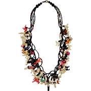 "Vintage 25"" Necklace with 65 Celluloid Charms"