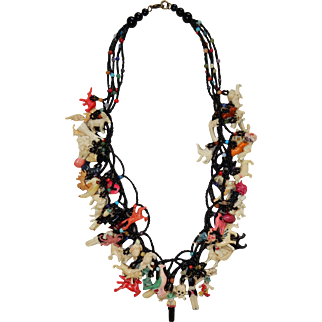 """Vintage 25"""" Necklace with 65 Celluloid Charms"""